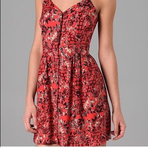❤️ Dolce Vita Red Orange Floral Aztec Rayon Size M